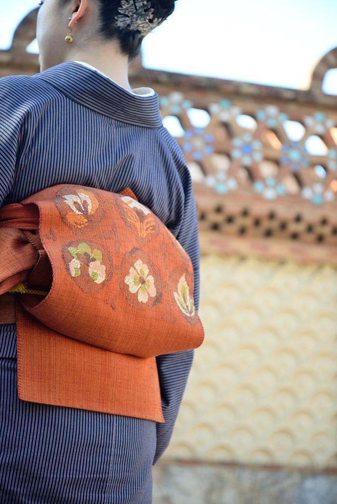 着物で旅に出かけましょう。スペインきもの旅 バルセロナ着物スタイリング グエル別邸 ガウディキモノコーデ