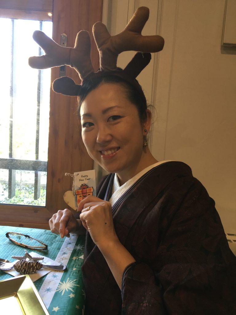 クリスマス着物コーデ バルセロナ着物 相模原市橋本着付け教室 クリスマスムードに華やぎを与える着物コーデ