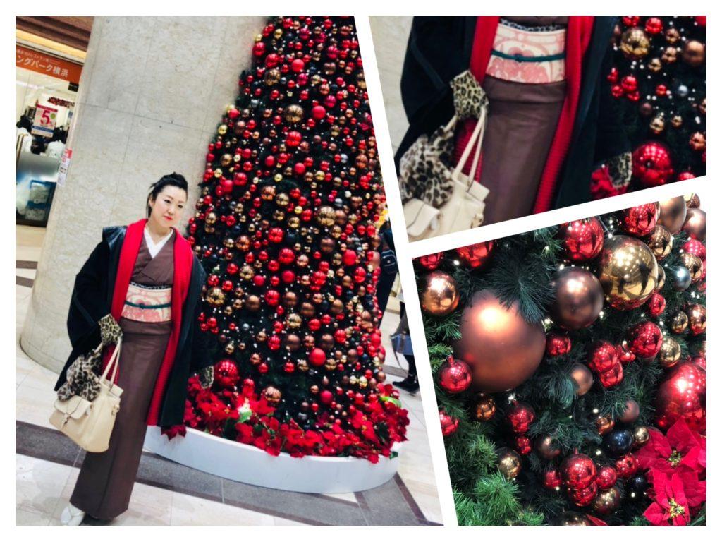 横浜クリスマスツリー 着物撮影会