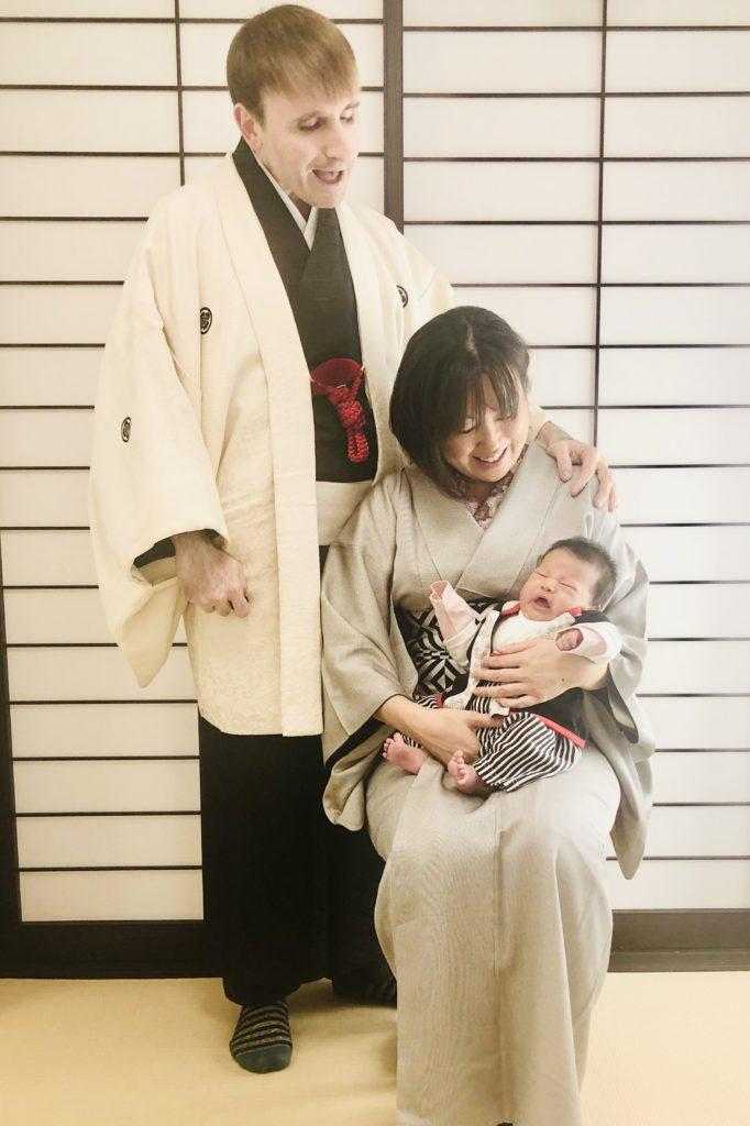 お正月家族着物 赤ちゃんときもの 相模原市出張着付けと着付け教室