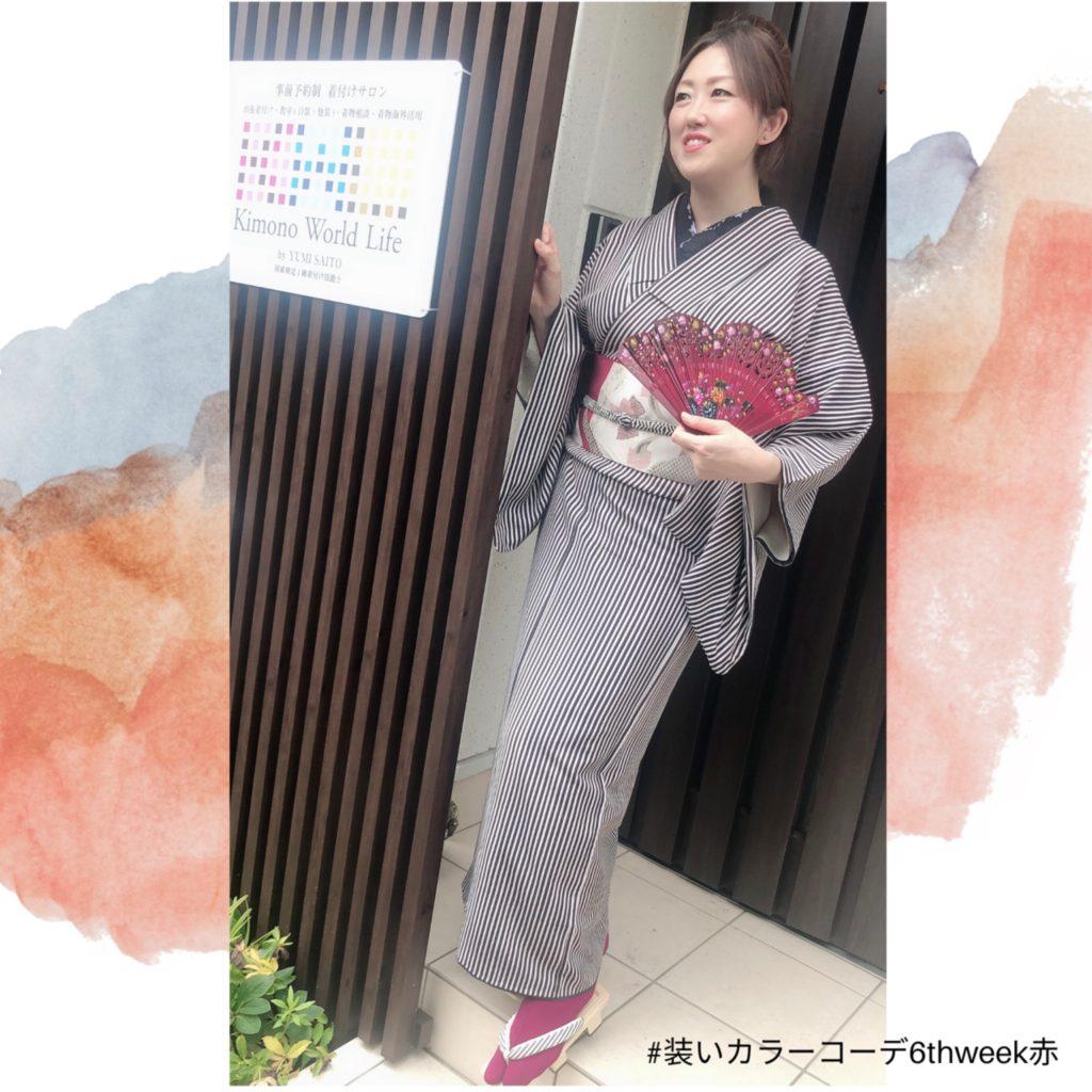 赤 オンライン着付け教室 パーソナルスタイリング 装いカラーコーデ